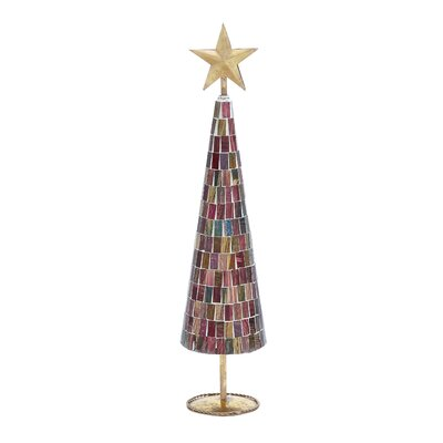 UMA Enterprises Christmas Tree with Mosaic Mirrors and Star