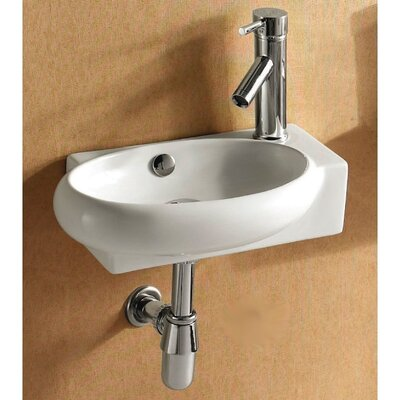 Ceramica Oval Wall Mounted Bathroom Sink - Caracalla CA4522B / Caracalla CA4522