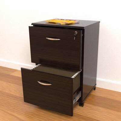 Inval Double Drawer Mobile File in Espresso Wenge