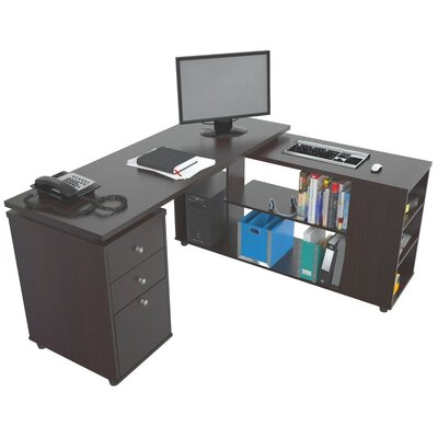 Inval L-Desk with Shelves