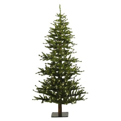 Vickerman Minnesota Pine 6' Green Artificial Half Christmas Tree with 200 Clear Lights with ...