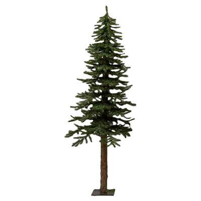 Natural Alpine 7' Green Artificial Christmas Tree with Metal Stand