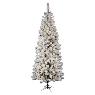 Flocked Pacific Pine 7.5' White Artificial Pencil Christmas Tree with 270 LED Lights with Stand ...