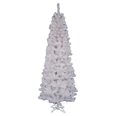 Vickerman White Salem Pencil Pine 5.5' Artificial Christmas Tree with 200 Clear Lights with ...