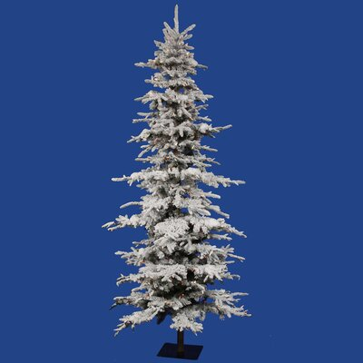 Vickerman Flocked Georian Fir 7.5' Green Artificial Christmas Tree with 550 Multicolored Lights ...