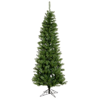 Vickerman Salem Pencil Pine 9.5' Green Artificial Christmas Tree with Stand with Rolling Stand