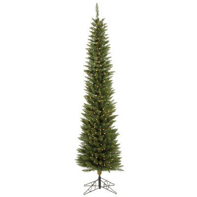 Vickerman Durham Pole Pine 7.5' Green Artificial Christmas Tree with 250 Clear Lights with ...