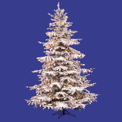 "Vickerman Co. Flocked Sierra Fir 7' 6"" White Artificial Christmas Tree with 750 Clear Lights with Stand"