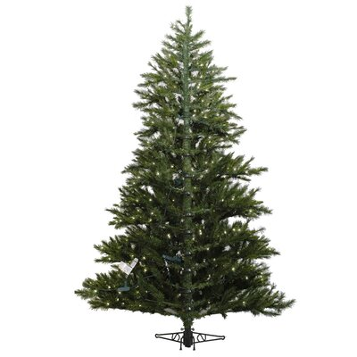 Vickerman Minnesota Pine Westbrook 7.5' Green Artificial Half Christmas Tree with 500 Clear ...