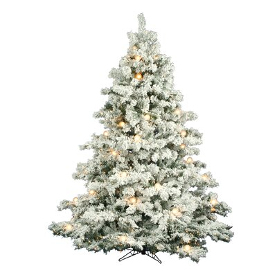 Vickerman Flocked Alaskan 7.5' White Artificial Christmas Tree with 800 Clear Lights with Stand