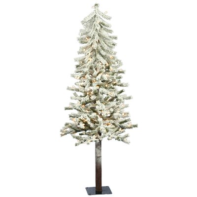Vickerman Flocked Alpine 5' White Artificial Christmas Tree with 150 Clear Lights