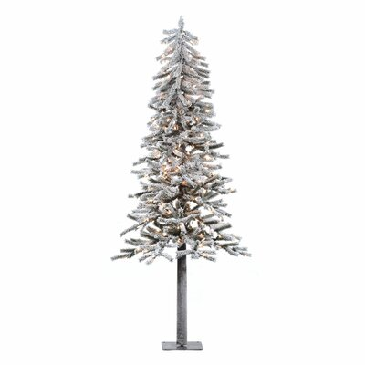Vickerman Flocked Alpine 6' White Artificial Christmas Tree with 200 Clear Lights with Stand