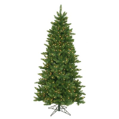 Vickerman Camdon Fir 6.5' Green Artificial Slim Christmas Tree with 550 Clear Lights with Stand ...