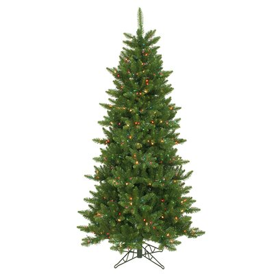 Vickerman Camdon Fir 6.5' Green Artificial Slim Christmas Tree with 550 Multicolored Lights ...