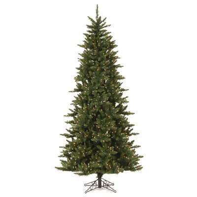 Vickerman Camdon Fir 7.5' Green Artificial Slim Christmas Tree with 585 LED Warm White Lights ...