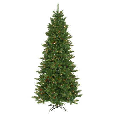 Vickerman Camdon Fir 7.5' Green Artificial Slim Christmas Tree with 700 Multicolored Lights ...