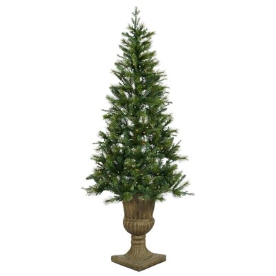 Vickerman Oneco Pine 7.5' Half Potted Artificial Christmas Tree with Clear Lights