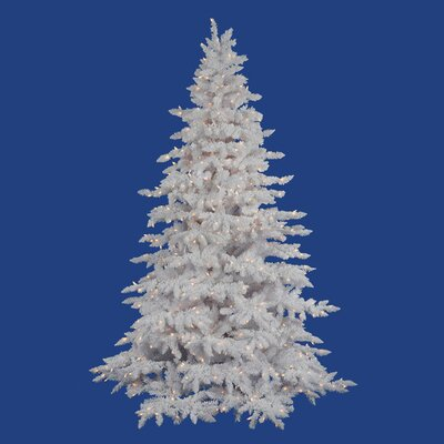 Vickerman Flocked White Spruce 7.5' Artificial Christmas Tree with 850 Clear Lights with Stand