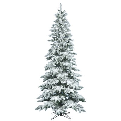 Vickerman Flocked Utica Fir 7.5' White Artificial Christmas Tree with Stand