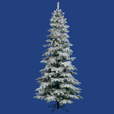 "Vickerman Co. Flocked Utica Fir 6' 6"" White Artificial Christmas Tree with 300 Multicolored Lights with Stand"