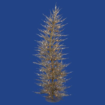Vickerman Colorful Laser 5' Champagne Artificial Christmas Tree with 100 Clear Lights