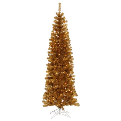 7.5' Antique Gold Artificial Pencil Christmas Tree with 400 Clear Mini Lights