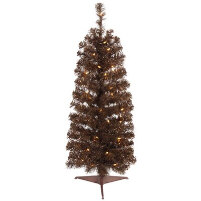 Vickerman 4.5' Mocha Artificial Pencil Christmas Tree with 150 Clear Mini Lights