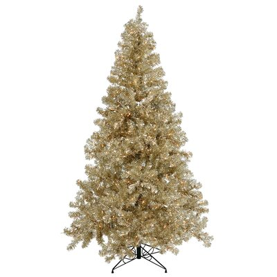 Vickerman Champagne 8' Artificial Christmas Tree with 600 Clear Mini Lights with Stand