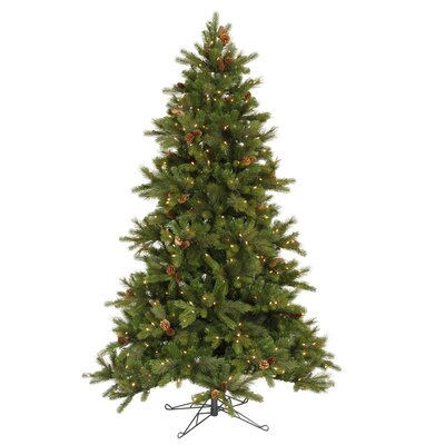 Vickerman Shoreline Mixed Pine 7.5' Green Artificial Christmas Tree with 550 Clear Dura-Lit ...