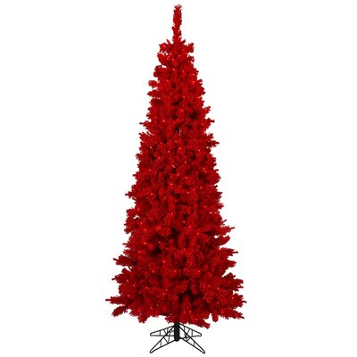 Vickerman Co. 7.5' Red Pine Artificial Christmas Tree with 450 Red Light and Flocked