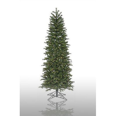 Vickerman Redwood 7.5' Green Slim Artificial Christmas Tree with 300 Pre-Lit Multicolored ...