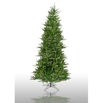 Vickerman Co. Tiffany Spruce 7.5' Green Slim Artificial Christmas Tree with 550 Pre-Lit Multicolored Lights with Stand
