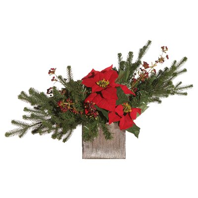 Vickerman Co. Floral Artificial Potted Pine Branch and Velvet Poinsettia in Red and Green