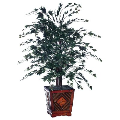 Vickerman Bushes Artificial Potted Natural Maple Tree in Planter