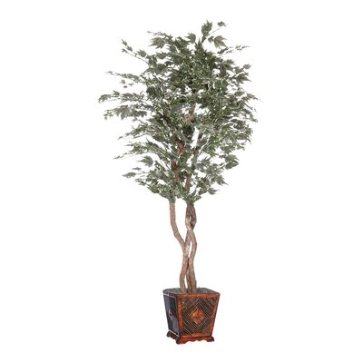 Vickerman Designer Artificial Potted Natural Maple Heartland Tree in Planter