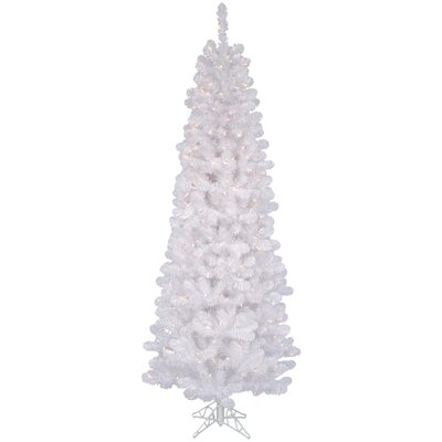 Vickerman White Salem Pencil Pine 7.5' Artificial Christmas Tree with 350 Clear Lights with ...