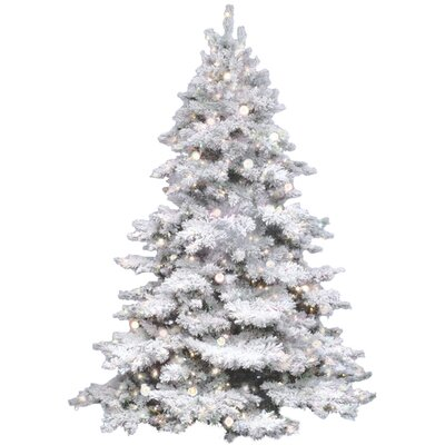 Flocked Alaskan 4.5' White Artificial Christmas Tree with 300 Clear Lights with Stand