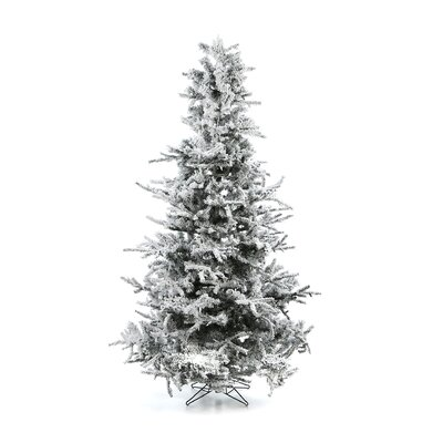 Vickerman Flocked Sierra Fir 7.5' White Artificial Christmas Tree with 750 Clear Lights with ...
