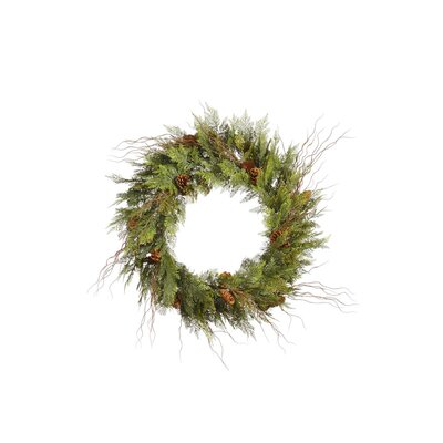 Vickerman Co. Cedar Twig Pine Cone Wreath with 110 Tips