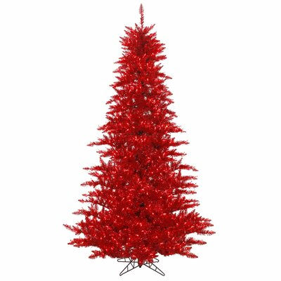 Vickerman 4.5' Tinsel Red Fir Artificial Christmas Tree with 250 Mini Lights