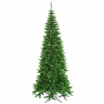 Vickerman 5.5' Tinsel Green Slim Fir Artificial Christmas Tree with 300 Mini Lights