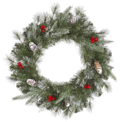 Vickerman Co. Frosted Pine Berry Wreath with 50 Lights