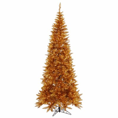 Vickerman 4.5' Copper Slim Fir Artificial Christmas Tree with 200 Mini Lights