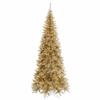 Vickerman 5.5' Champagne Slim Fir Artificial Christmas Tree with 300 Mini Clear Lights
