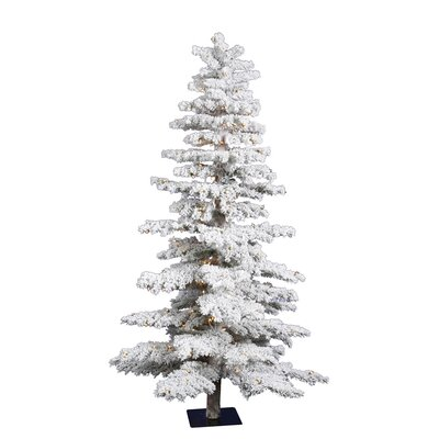 Vickerman Co. 7' White Idaho Spruce Artificial Christmas Tree with 300 Dura-Lit Clear Lights and Flocked