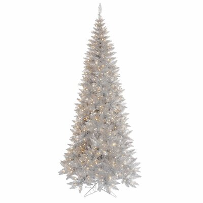 Vickerman 7.5' Silver Slim Fir Artificial Christmas Tree with 500 Mini Clear Lights