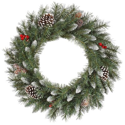 Vickerman Co. Frosted Tip Berry Wreath with 190 Tips