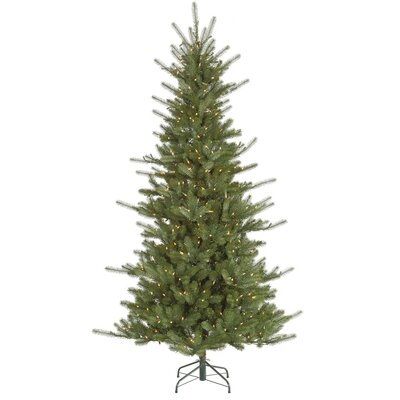 Vickerman Colorado 7.5' Green Slim Spruce Artificial Christmas Tree with 650 Dura-Lit Clear ...