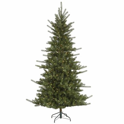 Vickerman Co. Colorado 7.5' Green Slim Spruce Artificial Christmas Tree with 680 LED White Lights with Stand