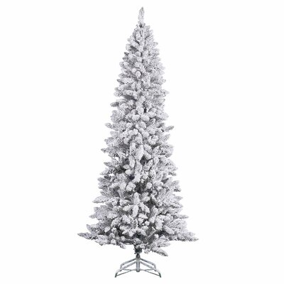 Vickerman 8' White Pine Artificial Christmas Tree with Stand and Flocked Pencil with Stand